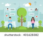 man and woman romantic chatting ... | Shutterstock .eps vector #401628382