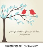 Love Song. Two Cute Red Birds...