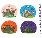 times of day icon set. cartoon...   Shutterstock .eps vector #401647162