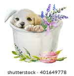 Stock photo watercolor puppy with flowers 401649778