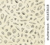 collection of hand drawn food.... | Shutterstock .eps vector #401653618