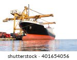 cargo ship with crane in the...