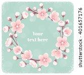 cherry blossom circular wreath  ...   Shutterstock .eps vector #401657176