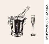 champagne bottle and glass hand ...   Shutterstock .eps vector #401657866