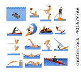 water sport icons set with... | Shutterstock .eps vector #401679766