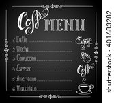 Coffee Menu On Black Backgroun...