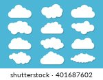 simple cloud collection with... | Shutterstock .eps vector #401687602