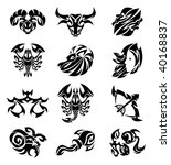tribal signs of the zodiac   Shutterstock .eps vector #40168837