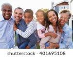 outdoor group portrait of black ...   Shutterstock . vector #401695108