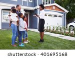 real estate agent showing a... | Shutterstock . vector #401695168