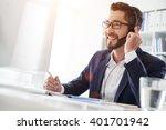 smiling businessman using... | Shutterstock . vector #401701942