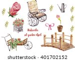 Stock photo set garden object isolated on white background hand paint watercolor flowers rocking chair 401702152