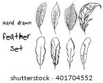 Hand Drawn Vector Set Feather...
