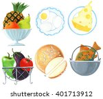 different food on white... | Shutterstock . vector #401713912