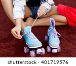 young girl tie shoelaces on... | Shutterstock . vector #401719576