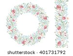endless floral hand drawing... | Shutterstock .eps vector #401731792