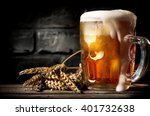 Stock photo beer near brick wall 401732638