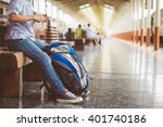 young woman or traveler sitting ... | Shutterstock . vector #401740186