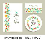 beautiful floral wedding card... | Shutterstock .eps vector #401744932