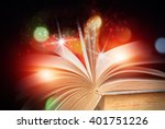 abstract magic book on wooden... | Shutterstock . vector #401751226