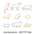 colored line group of pets....