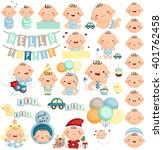 Baby Boy Milestone Vector Set
