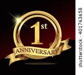 1 years golden anniversary logo ... | Shutterstock .eps vector #401763658