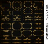 vector set of gold decorative... | Shutterstock .eps vector #401775406