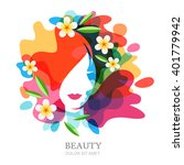 female face and plumeria... | Shutterstock .eps vector #401779942