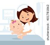 smiling nurse and baby girl.... | Shutterstock .eps vector #401781862