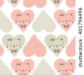 Cute Cat Pattern Background...