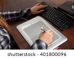 retoucher is working using...   Shutterstock . vector #401800096