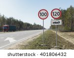 car passing speed limit sign... | Shutterstock . vector #401806432