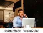handsome businessman talking to ... | Shutterstock . vector #401807002