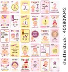 baby girl milestone cards | Shutterstock .eps vector #401809042