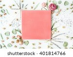 Stock photo pink wedding or family photo album roses lavender branches leaves and petals isolated on white 401814766