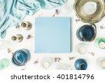 blue wedding or family photo... | Shutterstock . vector #401814796