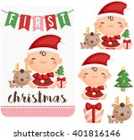baby girl first christmas... | Shutterstock .eps vector #401816146