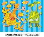 Little Girl and Alien (hand drawn vector) - stock vector