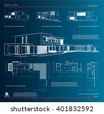 wireframe blueprint drawing of...   Shutterstock .eps vector #401832592