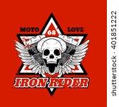 skull biker. iron rider. print... | Shutterstock .eps vector #401851222
