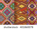 set of 3 abstract seamless... | Shutterstock .eps vector #401860078