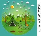 summer landscape. morning... | Shutterstock .eps vector #401874736