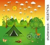 summer landscape. morning... | Shutterstock .eps vector #401874766