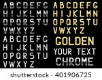 alphabet font. shiny silver and ... | Shutterstock . vector #401906725
