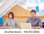 man and woman hard at work next ...   Shutterstock . vector #401921806
