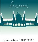 a mosque with a crescent in the ...   Shutterstock .eps vector #401922352