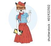 fox girl dressed up in french... | Shutterstock .eps vector #401922502