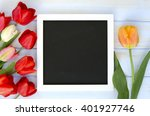 tulips with blank black... | Shutterstock . vector #401927746
