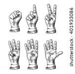 set of gestures of hands... | Shutterstock .eps vector #401933086